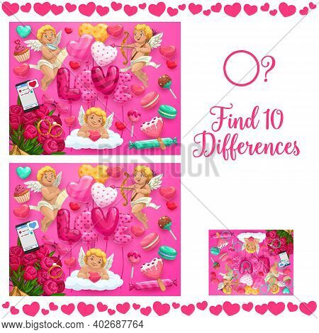 Saint Valentine Day Kids Find Ten Differences Puzzle. Child Educational Game With Search And Compare