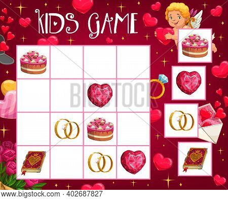 Saint Valentine Day Child Crossword Game With Love Symbols. Children Logical Riddle Or Rebus, Kids M