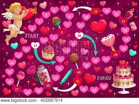 Valentine Day Children Labyrinth Game With Cupid And Holiday Sweets. Kids Maze With Finding Path Tas