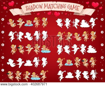 Saint Valentine Day Holiday Shadow Matching Puzzle For Kids With Cupids Characters. Child Playing Ac