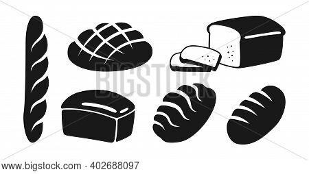 Bakery Black Icon Set Bread Symbol Baguette Vector