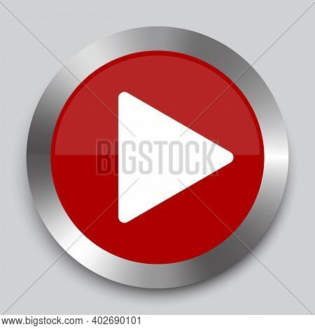 Modern Red Play Button On White Background. Vector Web Button. Website Icon Symbol. Click Button.  S