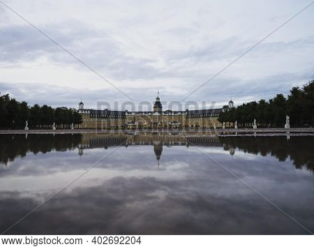 Panorama Reflection Of Yellow Stone Schloss Karlsruhe Castle Palace Schlosspark In Baden Wurttemberg
