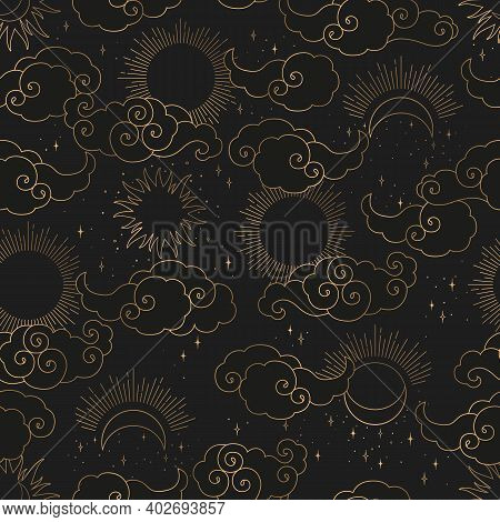 Vintage Vector Seamless Pattern With Gold Abstract Sun, Moon, Stars And Clouds Isolated On Black Bac