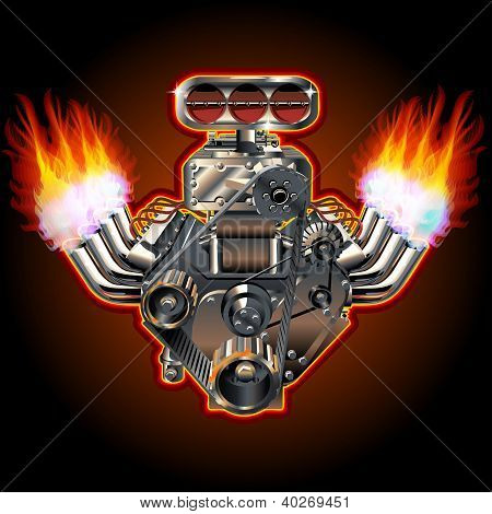 Vector Cartoon Turbo Engine