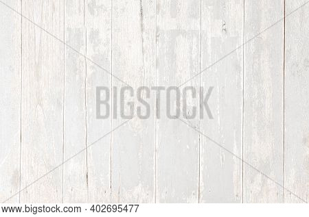 Weathered White Painted Wooden Wall. Vintage White Wood Plank Background. Old White Wooden Wall.
