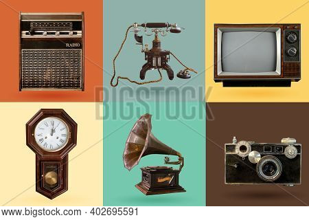 Vintage Electrical And Electronic Appliances Set. Nostalgic Collectibles From The Past 1960s - 1970s