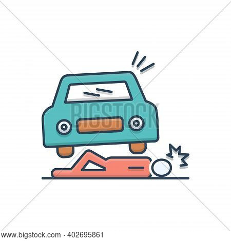 Color Illustration Icon For Accidental-death Accidental Death Lying Injured Careless  Insurance