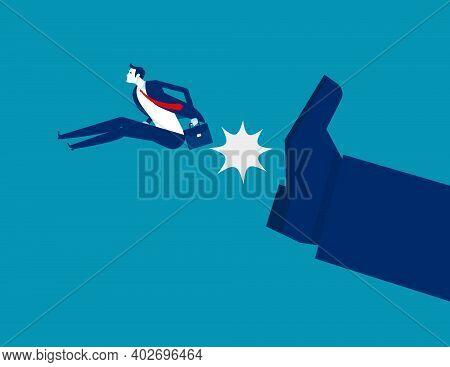 Big Foot Kick Businessman. Fired Job. Business Vector Illustration