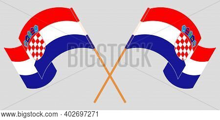 Crossed And Waving Flags Of Croatia. Vector Illustration