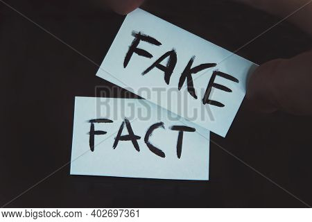 Fact Or Fake Concept, Change. Substitution Of Concepts. The Fact Is Replaced By A Fake. A Man Change