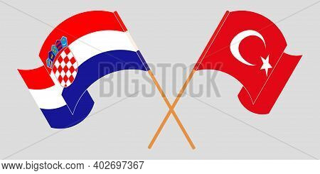Crossed And Waving Flags Of Croatia And Turkey. Vector Illustration
