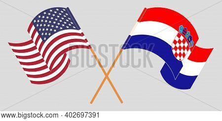 Crossed And Waving Flags Of Croatia And The Usa. Vector Illustration