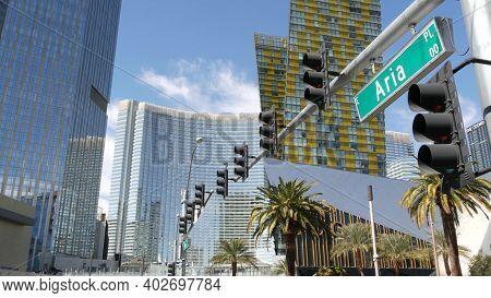 Las Vegas, Nevada Usa - 7 Mar 2020: Futuristic Citycenter Casinos In Sin City. Modern Luxury Unincor