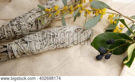 Dried White Sage Smudge Stick, Relaxation And Aromatherapy. Smudging During Psychic Occult Ceremony,