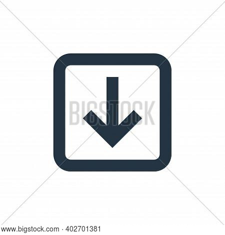 down arrow icon isolated on white background. down arrow icon thin line outline linear down arrow sy