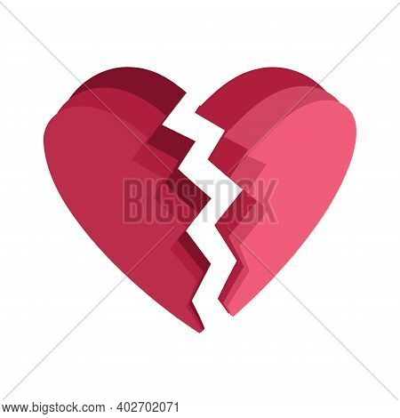 Broken Heart Icon Isolated On White Background From Friendship Collection. Broken Heart Icon Simple