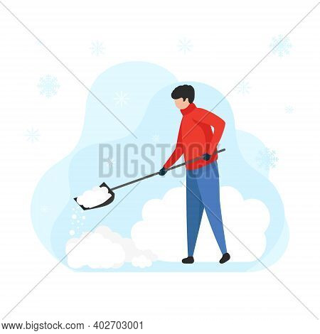 Young Man With A Shovel Cleans Snow, Vector. Cleaning The Area From Snow In A Big Snowfall. Flat Ill