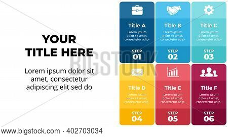 Squares Vector Colorful Infographic. 6 Steps, Options. Presentation Slide Template. Banners Timeline