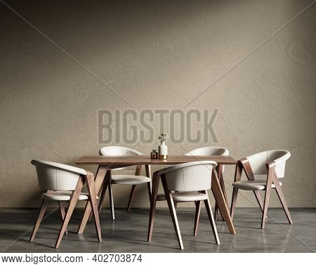 Beige Interior With Dining Table And Chairs. 3d Render Illustration Background Mock Up.
