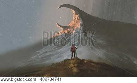 Man Standing On A Hill Looking At The Strange Mountain, Digital Art Style, Illustration Painting