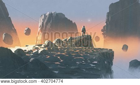 Spaceman Standing On A Cliff In A Rocky Land, Digital Art Style, Illustration Painting