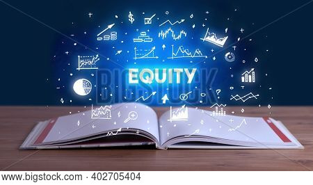 EQUITY inscription coming out from an open book, business concept