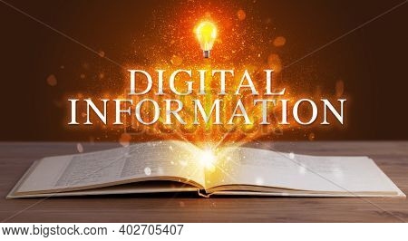 DIGITAL INFORMATION inscription coming out from an open book, educational concept