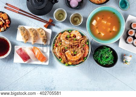Japanese Food With A Place For Text. Sushi, Miso Soup, Udon, Tea Etc, Top Shot
