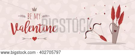 Valentines Day Greeting Banner. Cupids Arrows And Bow. Valentines Weapon Isolated On White Backgroun
