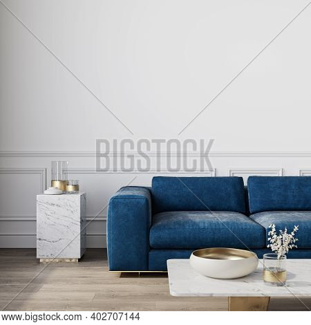 Modern Classic White Interior With Blue Sofa And Decor. 3d Render Illustration Mock Up.