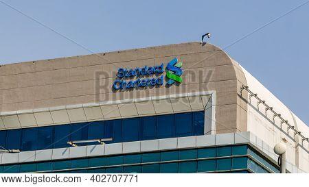 Gurugram, India - 29 Sep, 2020 -  Standard Chartered Logo At The Roof Of The Standard Chartered Offi