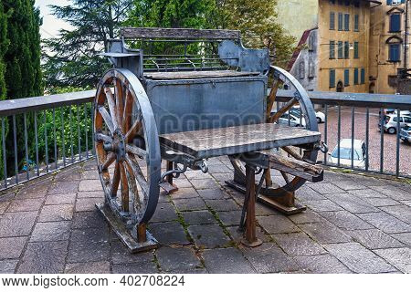 Bergamo, Italy - May 22, 2019: Carriage For Old Cannon Weapon In The Park Of The Fortress Of Bergamo