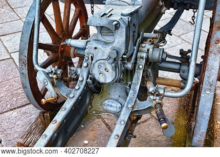 Bergamo, Italy - May 22, 2019: Old Cannon Weapon In The Park Of The Fortress Of Bergamo (rocca Di Be