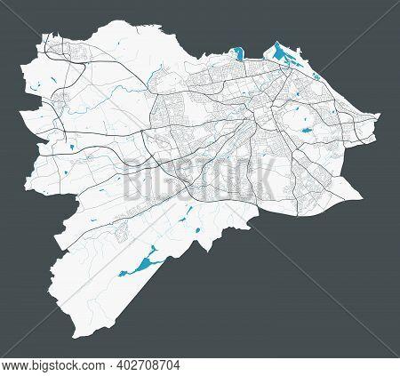 Edinburgh Map. Detailed Map Of Edinburgh City Administrative Area. Cityscape Panorama. Royalty Free