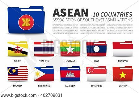 Asean . Association Of Southeast Asian Nations And Membership . Folder Flags Design . Southeast Asia
