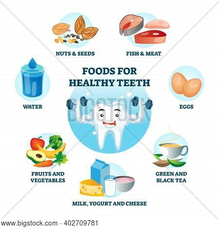 Foods For Healthy Teeth As Nutrition Diet And Product Influence To Oral Care