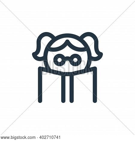 girl icon isolated on white background. girl icon thin line outline linear girl symbol for logo, web