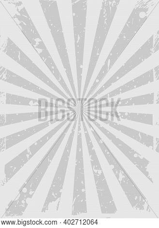 Sunlight Retro Grunge Background. Silver Grey Color Burst Background. Vector Vertical Illustration.