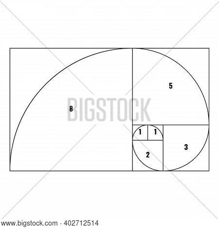 Golden Proportion Or Ratio Spiral Line Template. Vector Illustration.