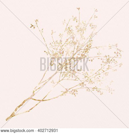 Glittery gold leaf branch on pink background