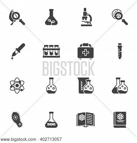 Scientific Research Vector Icons Set, Science Modern Solid Symbol Collection, Filled Style Pictogram
