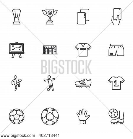 Soccer, Football Line Icons Set, Outline Vector Symbol Collection, Linear Style Pictogram Pack. Sign