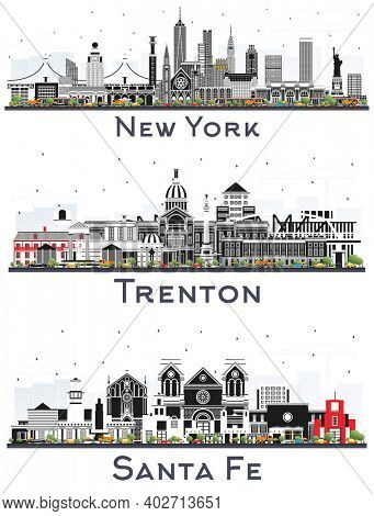 Trenton New Jersey, Santa Fe New Mexico and New York USA City Skyline Set with Color Buildings Isolated on White.