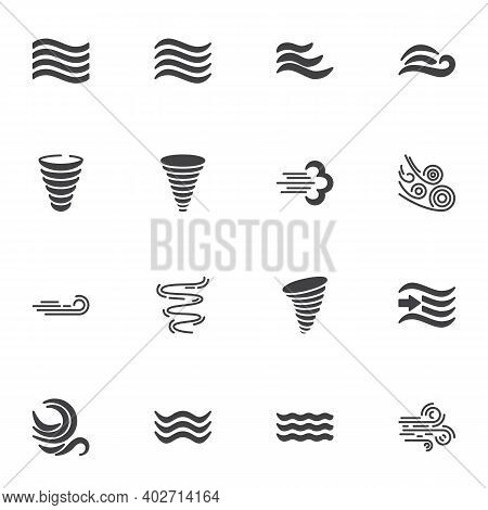 Weather Wind Vector Icons Set, Modern Solid Symbol Collection, Filled Style Pictogram Pack. Signs, L