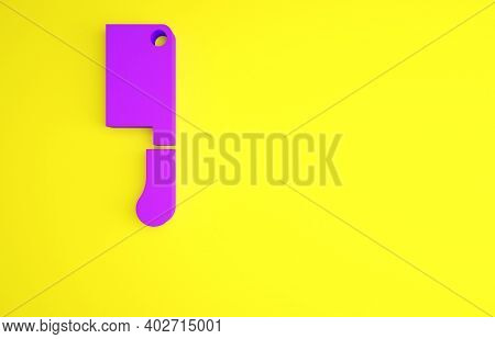 Purple Meat Chopper Icon Isolated On Yellow Background. Butcher Knife. Kitchen Knife For Meat. Butch