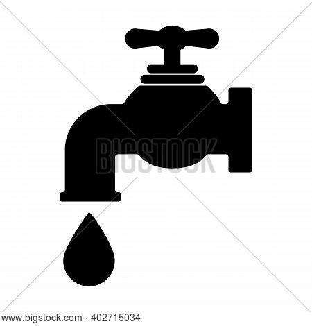 Water Tap Icon On White Background. Tap With A Drop Of Water Sign. Water Tap Symbol. Flat Style.