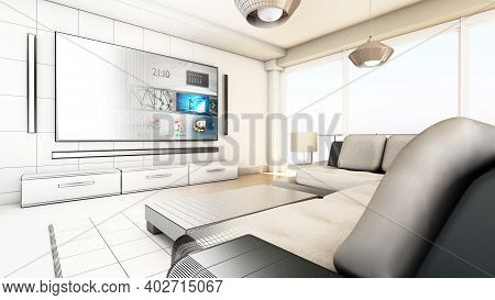Modern Living Room Wireframe Rendering. 3d Illustration.