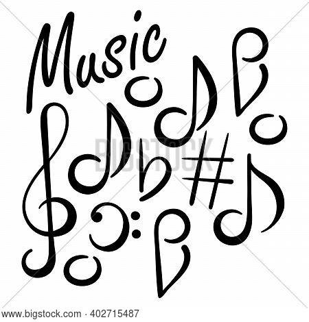 Musical Signs. Concert Festival Doodle . Musical Notes, Treble Clef, Bass Clef.