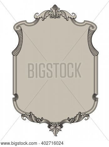 Classic decorative frame in old style. Retro design element. Vintage engraving stylized drawing